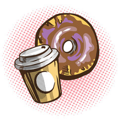 Chocolate donuts and cup of coffee cartoon vector