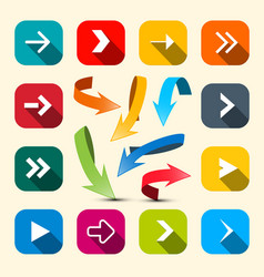 colorful arrows set arrow icon vector image