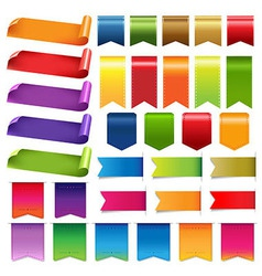 Colorful Ribbons And Label Big Set vector image