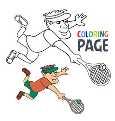 coloring page with tennis player cartoon vector image