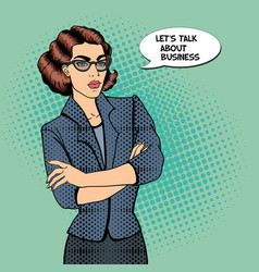 Confident Young Businesswoman Pop Art vector