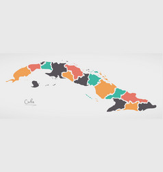 Cuba map with states and modern round shapes vector