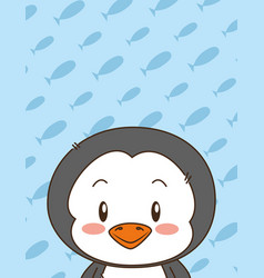 cute little penguin character vector image