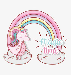 Cute unicorn animal with rainbow and clouds vector