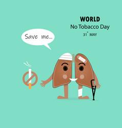 damaged lung cartoon character and stop smoking vector image