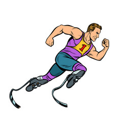 Disabled runner with leg prostheses running vector