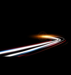 dynamic lights speed road in night time vector image