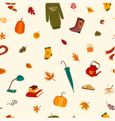 fall seamless pattern with cute things and autumn vector image
