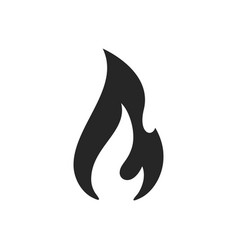 fire flame burn black line icon flammable warning vector image