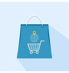 Flat icon shopping bag on a light background vector image