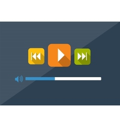 Flat Player Application in Stylish Colors vector image