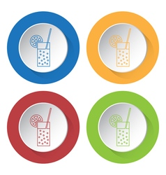 Four round color icons carbonated drink citrus vector