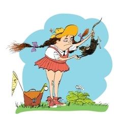 Girl naturalist studying the rat vector