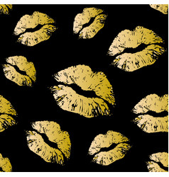 Gold seamless pattern on black background vector