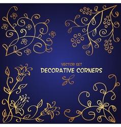 Golden floral corners vector