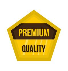 golden premium quality label icon flat style vector image