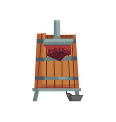 grape press wine production process vector image