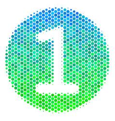 Halftone blue-green one coin icon vector