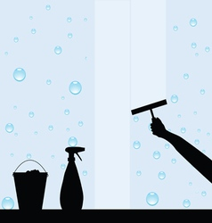 Hand cleaning windows vector image