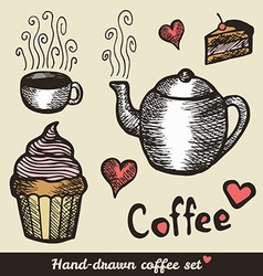 Hand drawn coffee and cakes vector image