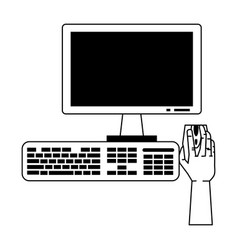 hand using desk computer with mouse monitor and vector image