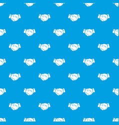 Handshake ice hockey pattern seamless blue vector