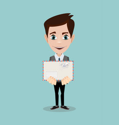 handsome businessman in formal suit holding an vector image