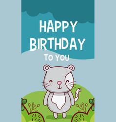 Happy birthday to you cat cartoon vector