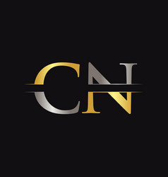 initial cn letter logo with creative modern vector image