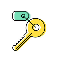 key line icon with a tag vector image vector image