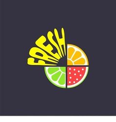 logo with pieces of fruits and word fresh vector image vector image