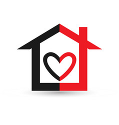 loving heart home black and red icon vector image