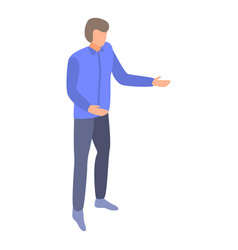 Man explain management icon isometric style vector