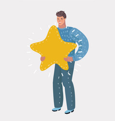 man holding a big golden star vector image