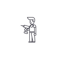 man with a drill line icon sign vector image