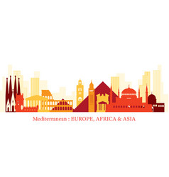 mediterranean skyline landmarks colorful vector image