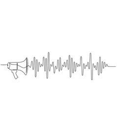 Megaphone loudspeaker with sound wave one line vector