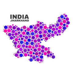 mosaic jharkhand state map of spheric dots vector image