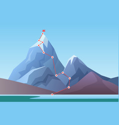 Mountain climbing route to peak business progress vector