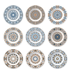 Nine decorative plates with circular colored vector