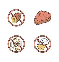 No gluten diet color icons set zero carbs high vector