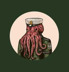 octopus sailor sea captain fashion animal vector image
