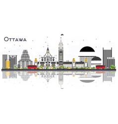 ottawa canada city skyline with gray buildings vector image