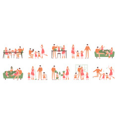 parents and children at home family indoor vector image