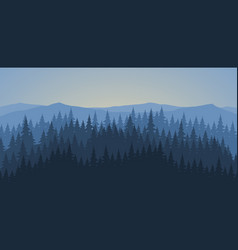 Pine forest at dawn landscape background vector