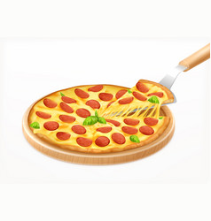 Pizza on board composition vector