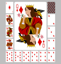 Playing cards diamonds suit and back in funny vector