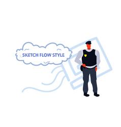 police man in uniform male policeman cop security vector image