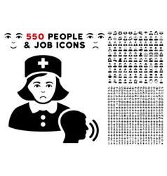 Psychotherapist nurse talking icon with bonus vector