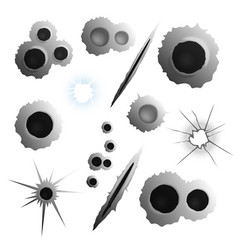 realistic bullet holes set vector image